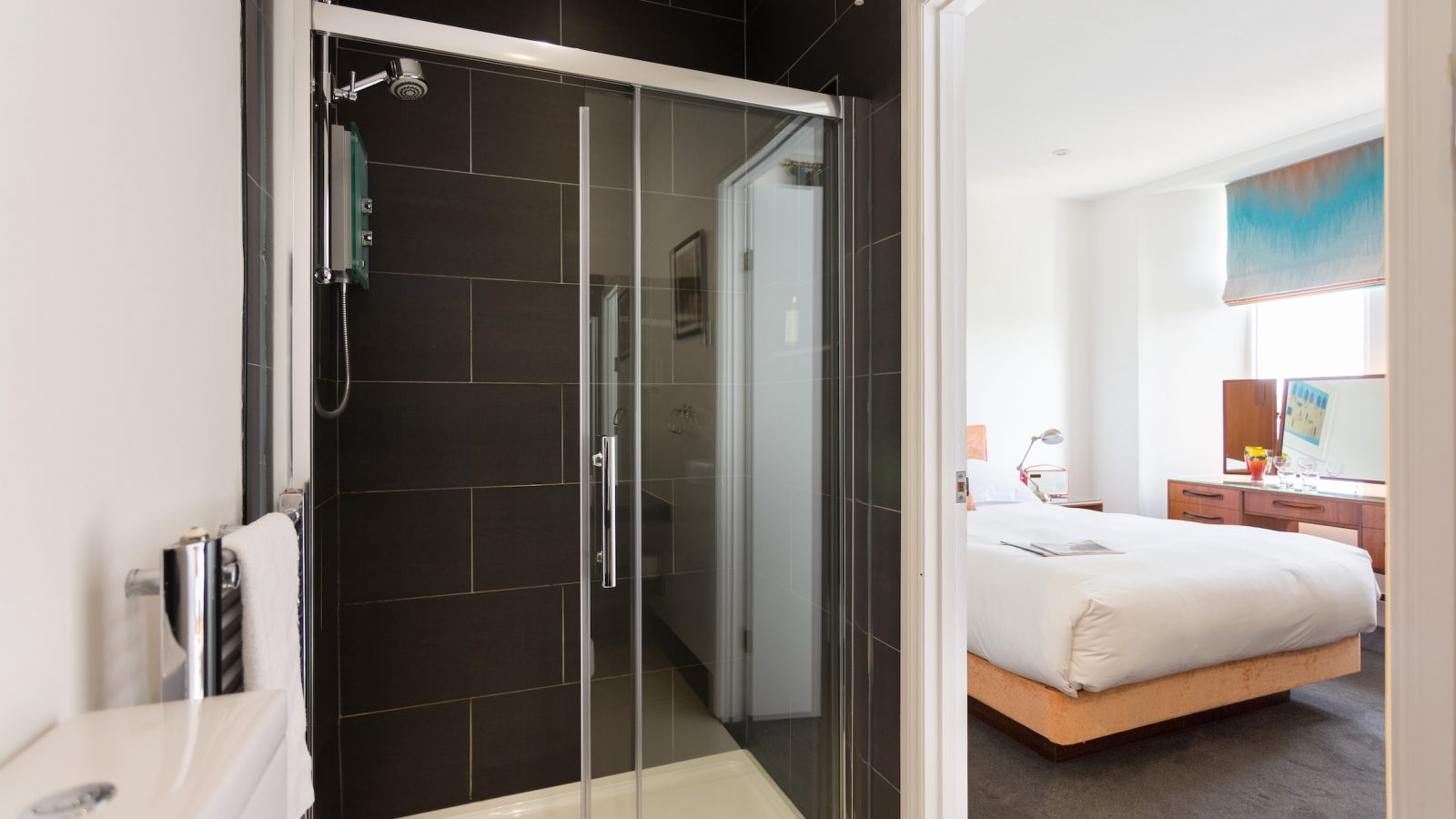 Large electric shower in ensuite