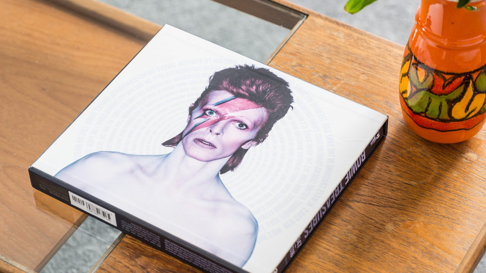 Coffee table with David Bowie coffee book