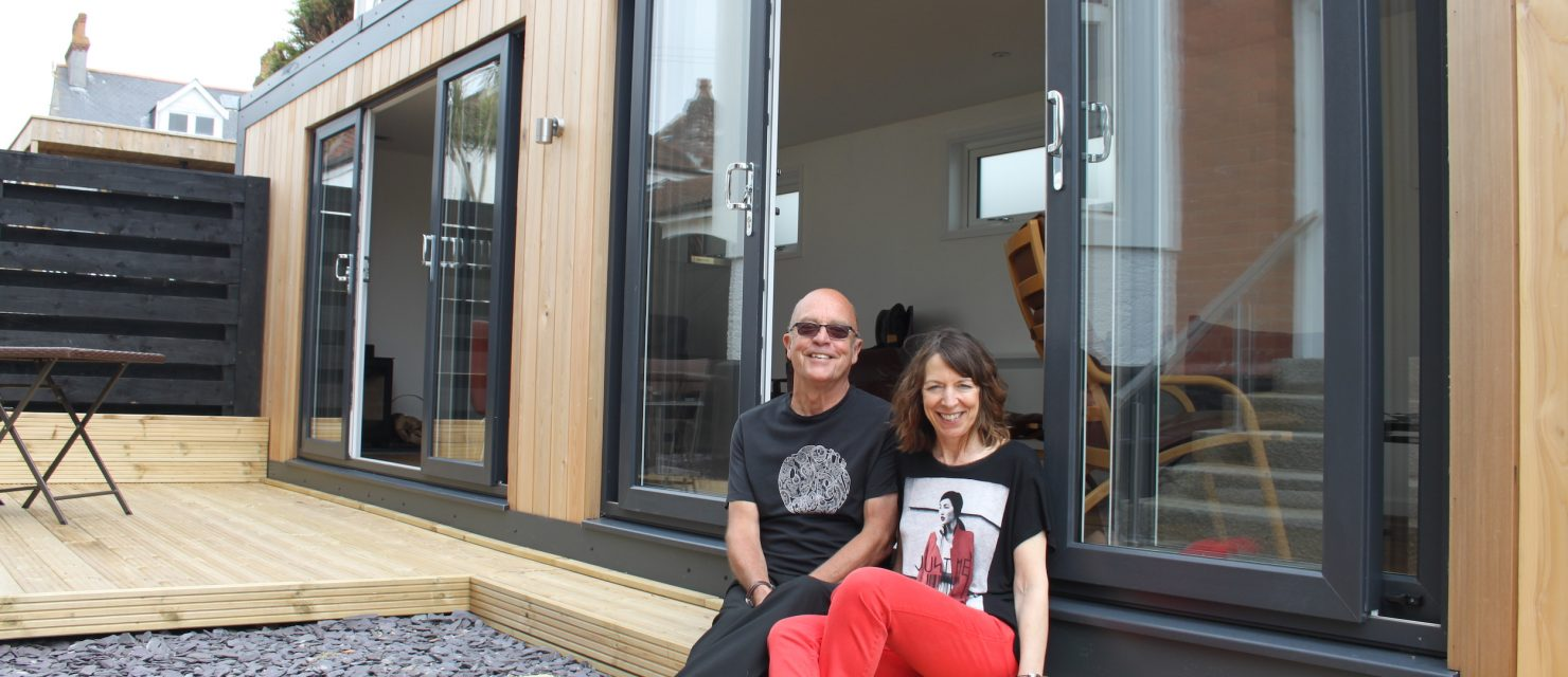 Sharon & Nigel after installation of guest garden room
